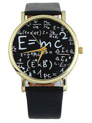 Faux Leather Math Equation Watch - BLACK