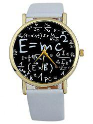 Faux Leather Math Equation Watch - WHITE