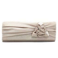 Satin Flower Evening Clutch Bag - APRICOT