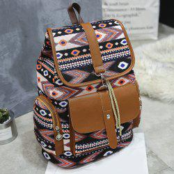 Tribal Printed Canvas Backpack - BLACK