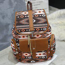 Tribal Printed Canvas Backpack - Brun
