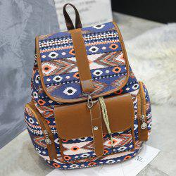 Tribal Printed Canvas Backpack - Bleu