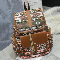 Tribal Printed Canvas Backpack - Vert