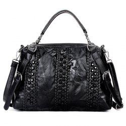 Braided Faux Leather Rivet Handbag