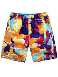 Drawstring Graffiti Shorts - COLORMIX