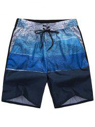 All Over City Print Drawstring Shorts - BLUE