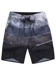 All Over City Print Drawstring Shorts - COFFEE