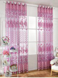 Floral Embroidered Perforate Tulle Window Curtain -