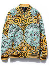 Cartoon Spindrift Print Zip Up Jacket