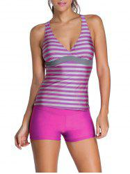 Stripe Padded Racerback Tankini Swimsuits - ROSE RED XL