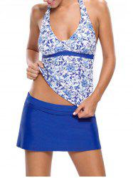Printed Halter Tankini Set - BLUE