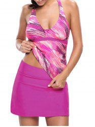 Printed Halter Tankini Set - ROSE RED