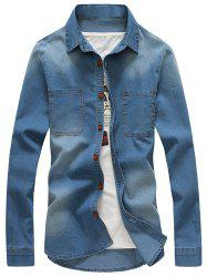 Turndown Collar Pockets Bleach Wash Denim Shirt