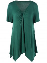 Ruched V Neck Handkerchief Hem Top - GREEN
