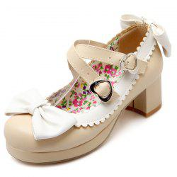 Double Buckle Strap Scalloped Pumps - BEIGE 39