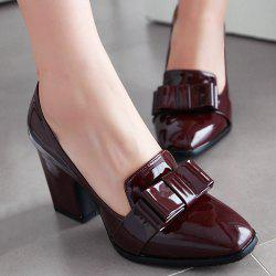 Bow Square Toe Patent Leather Pumps -