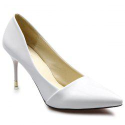 Stiletto Heels Patent Leather Pumps - WHITE
