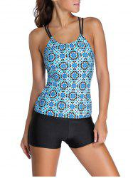 Floral Racerback Padded Spaghetti Strap Tankini Set - LIGHT BLUE