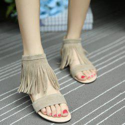 Back Zip Up Fringe Flat Sandals - APRICOT