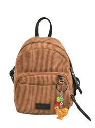 Corduroy Mini Backpack with Pendant - BROWN
