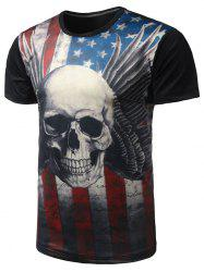 Skull Print Distressed American Flag T Shirt  - BLACK