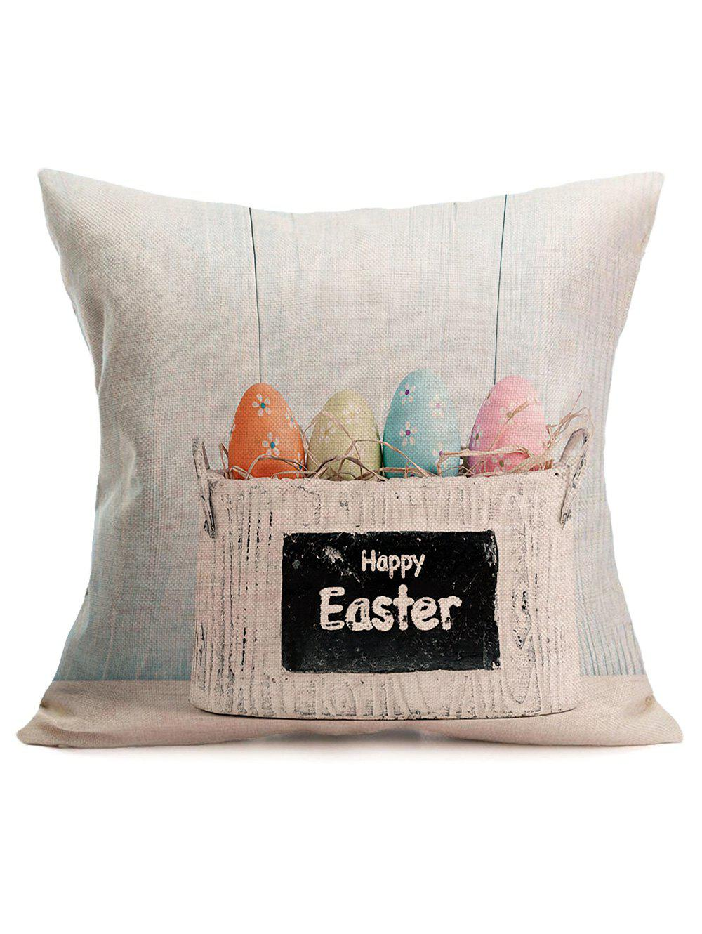 Easter Colors Eggs Printing Cotton Square PillowcaseHOME<br><br>Color: COLORMIX; Material: Polyester / Cotton; Fabric Type: Linen; Pattern: Printed; Style: Accent/Decorative; Shape: Square; Size(CM): 43*43CM; Weight: 0.1200kg; Package Contents: 1 x Pillowcase;