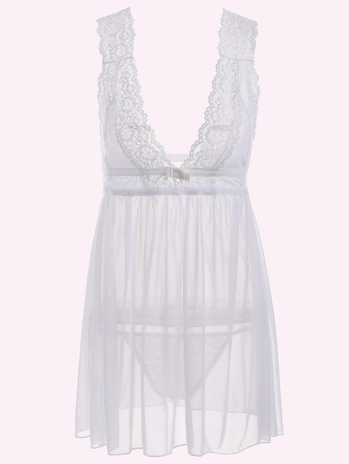 Outfit Low Cut See-Through Lace Sleepwear Trim Babydoll