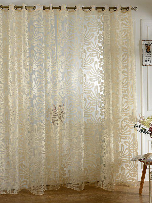 Trendy Home Decor Grommet Roller Embroidered Tulle Curtain