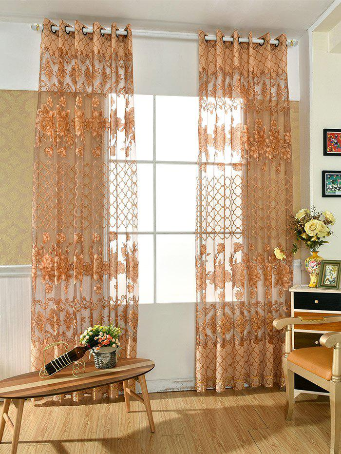 Best Floral Embroidered Perforate Tulle Window Curtain