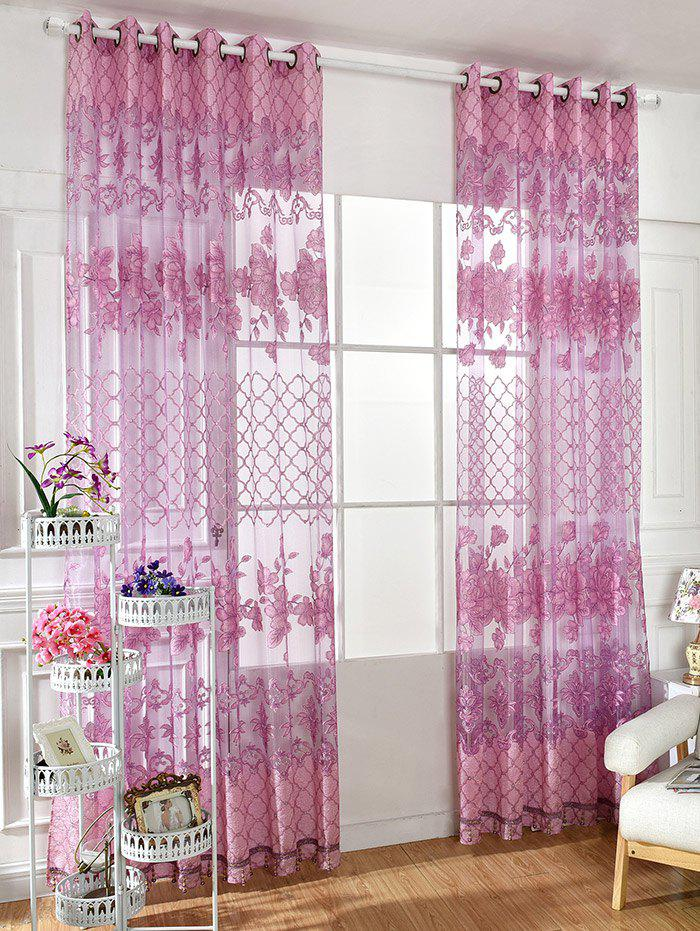 Shops Floral Embroidered Perforate Tulle Window Curtain