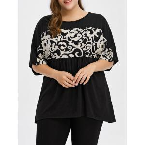 Plus Size Batwing Sleeve Longline Smock T-Shirt