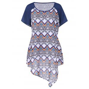 Plus Size Raglan Sleeve Zigzag Asymmetrical T-Shirt