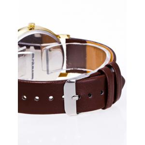 Faux Leather Earth Quartz Watch - BROWN