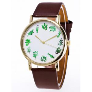 Faux Leather Flower Plant Pattern Watch - Brown