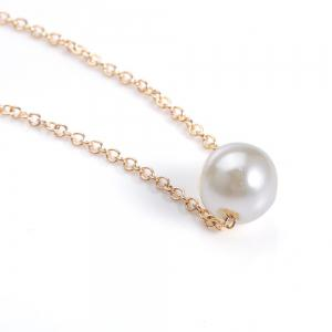 Fake Pearl Pendant Necklace -