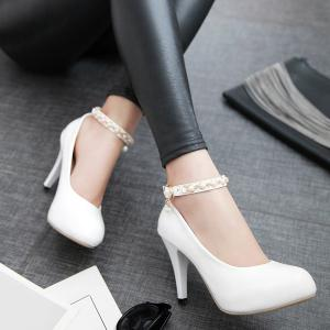 Faux Pearls Ankle Strap Pumps - WHITE 39