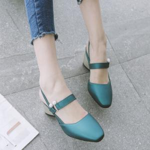 Faux Leather Slingback Pumps - Blackish Green - 37