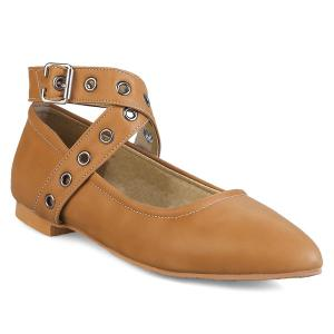 Eyelets Faux Leather Flat Shoes - Brown - 38