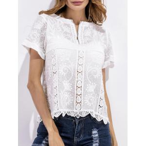 Scalloped Crochet Embroidered Blouse