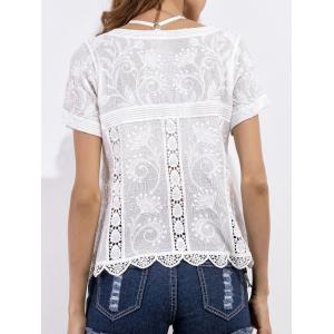 Scalloped Crochet Embroidered Blouse -