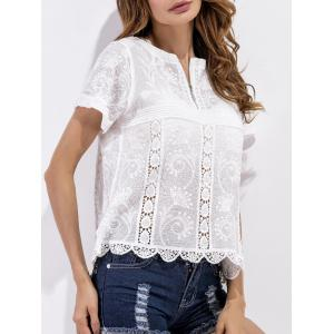 Scalloped Crochet Embroidered Blouse - WHITE ONE SIZE