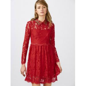 Flat Collar Lace Mini Robe patineuse - Rouge M