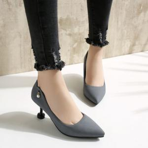 Faux Pearl Suede Pumps - GRAY 37