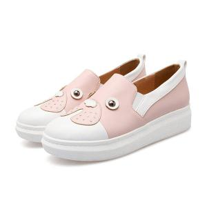 Studded Faux Leather Slip On Sneakers - PINK 39