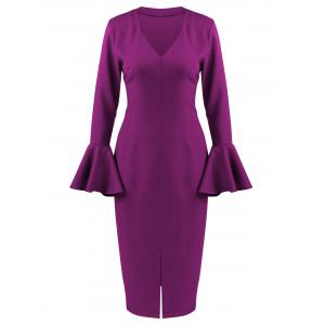 Flare Long Sleeve Tea Length Bodycon Formal Dress