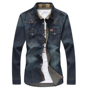 Zipper Pockets Bleach Wash Denim Long Sleeve Shirt