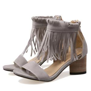Chunky Heel Zipper Fringe Sandals - GRAY 39