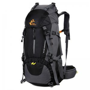 FreeKnight Nylon 50L Mountaineering Backpack with Rain Cover - Black