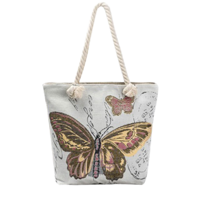Butterfly Printed Canvas Shoulder Bag - Brown