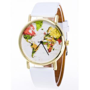 Faux Leather Watch with World Map - White